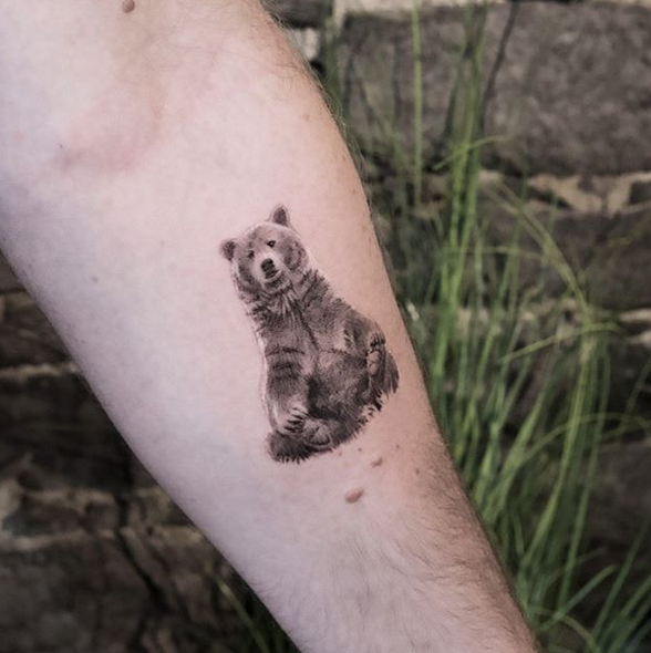 cute grizzly bear tattoo