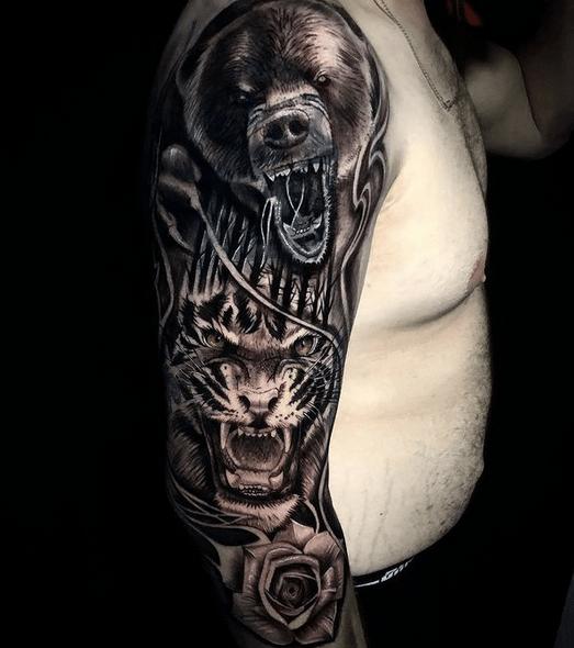 Bear and tiger tattoo sleeve @joker_tattoo13