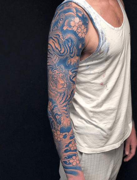 Blue japanese tiger tattoo sleeve by @enterthedragontattoo