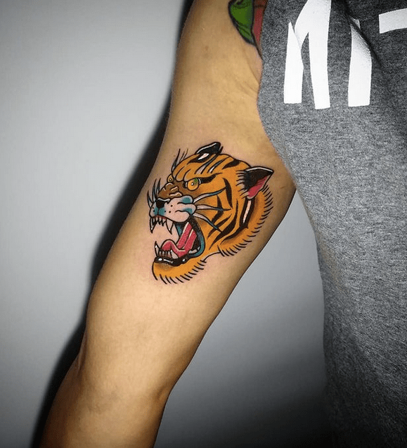 Color traditional tiger tattoo design by @vinivolpini