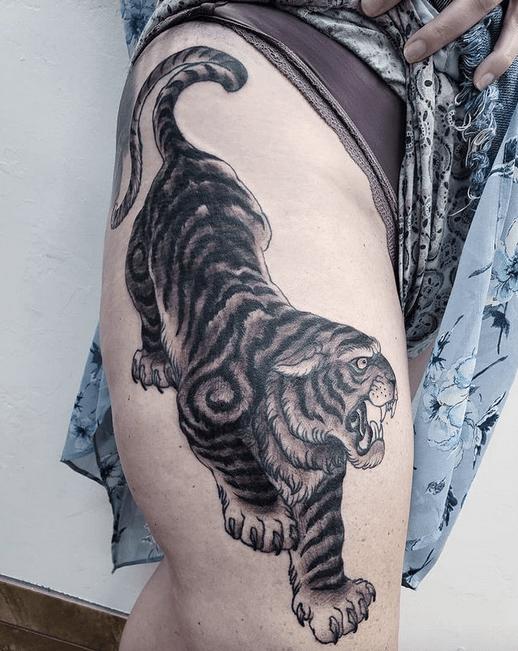 Irezumi style tiger tattoo by @david_hek_
