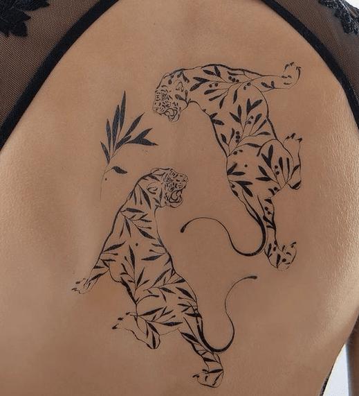 Nature tiger outline tattoo by @iam.tatyou