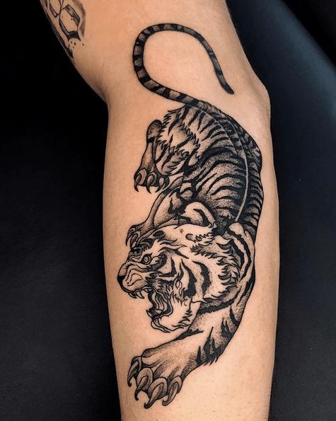Neotrad tiger tattoo by @muslubash.tattoo