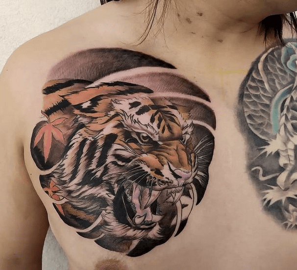 New Japanese style tiger tattoo on chest by @taotaoyee