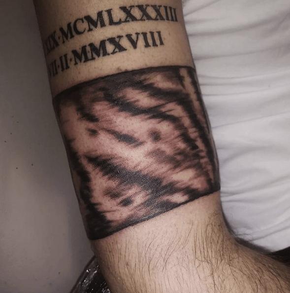 Realistic tiger stripes band tattoo by @breeashleyy