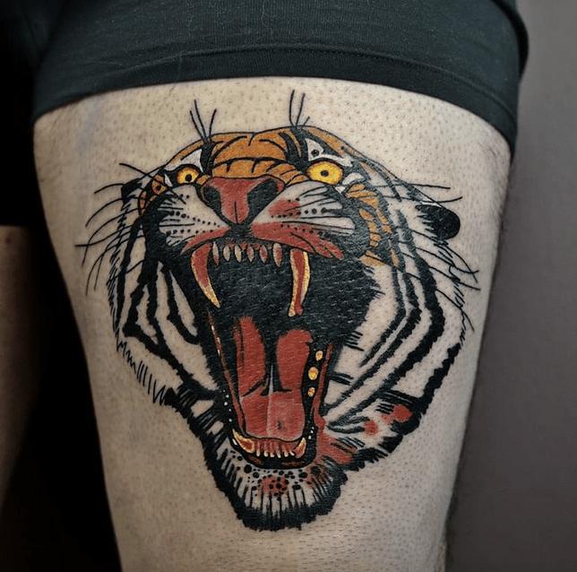 Screaming tiger head tattoo by @neon.tattoo.studio