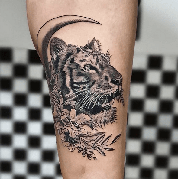Tiger and the moon tattoo design by @libanestattoo