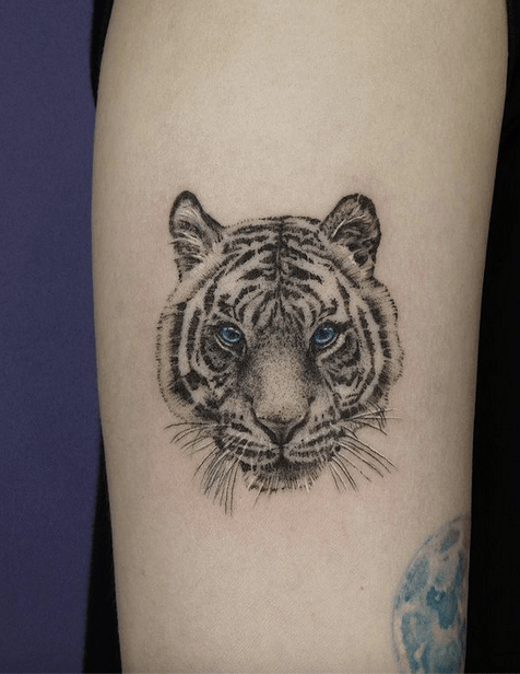 Tiger head tattoo with blue eyes by @tinystartattoo