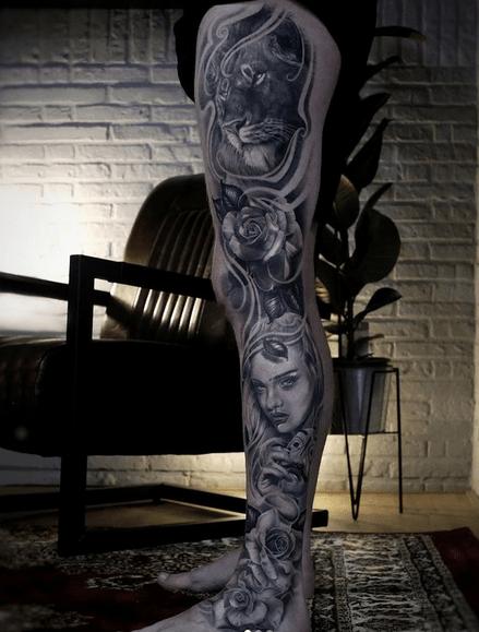 Tiger leg sleeve tattoo by @jezzytattoos