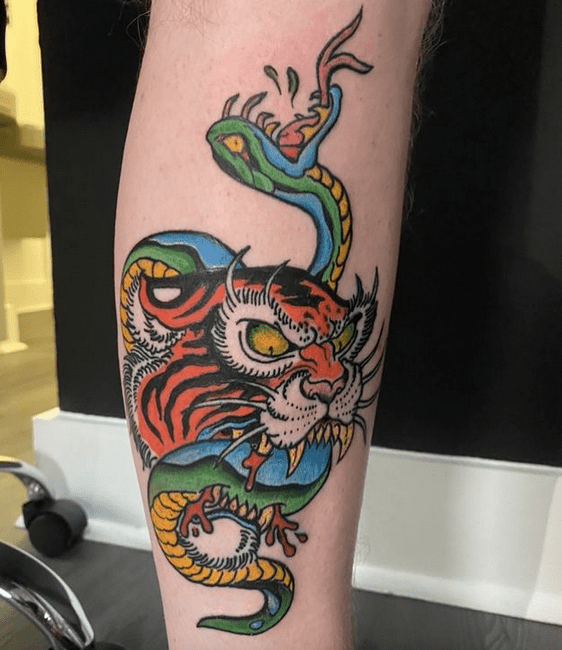 Traditional tiger and snake tattoo by @claytonthetattooist