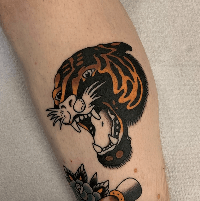 Traditional tiger head tattoo design by @hamstergooch
