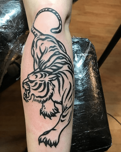 Tribal tiger tattoo design done by @gazzalb1980