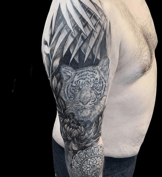 White tiger peony mandala tattoo sleeve by @loveinkeu