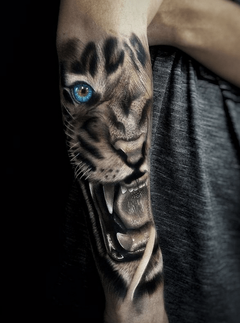 White tiger with blue eyes forearm tattoo by @dyhtattoo