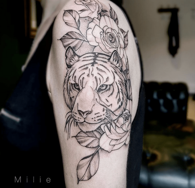 White tiger with flowers no color by @milielesfiolesdencre