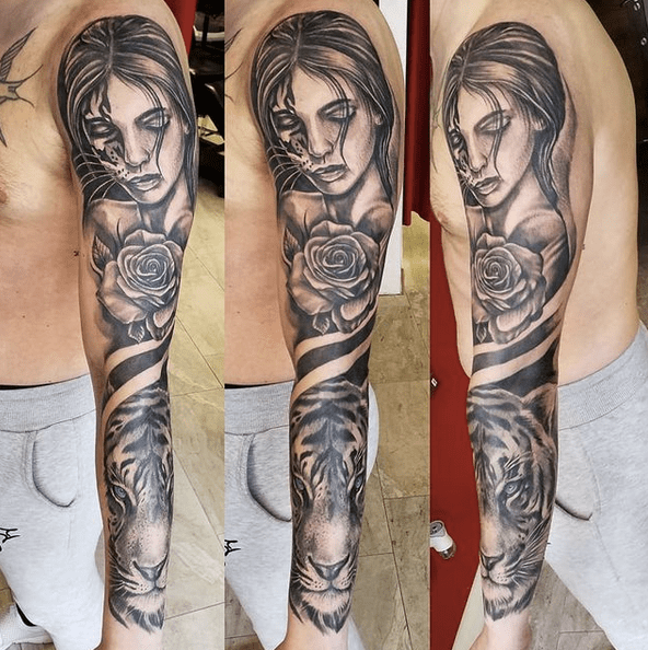 Woman rose and tiger sleeve tattoo by @yankeestattoocarrigaline