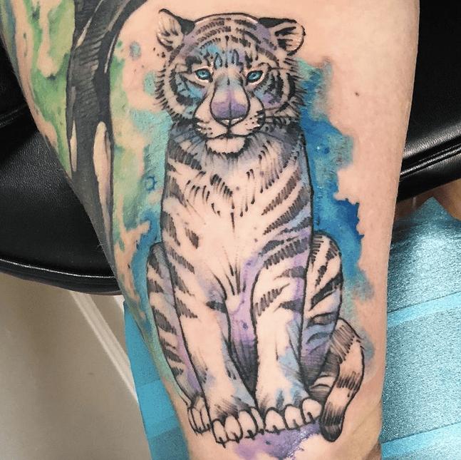 white tiger watercolor tattoo design