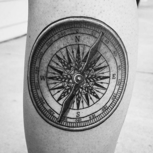 2D nautical compass tattoo by @j9illustration