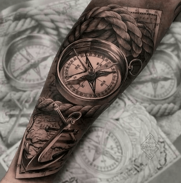 3D realistic compass tattoo by @_randy_ray_random