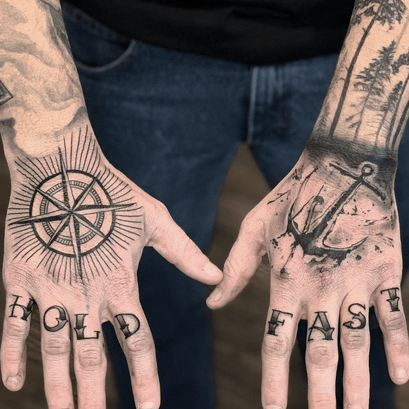 Anchor and compass hand tattoos by @fresh_native