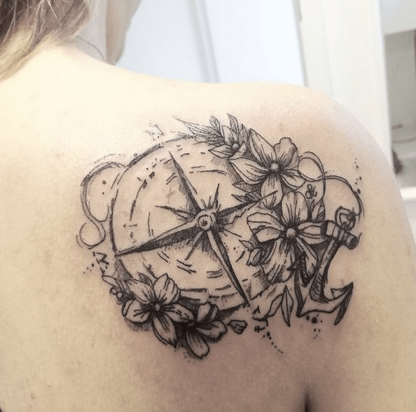 Anchor compass flower tattoo by @kamelschwestertattoo
