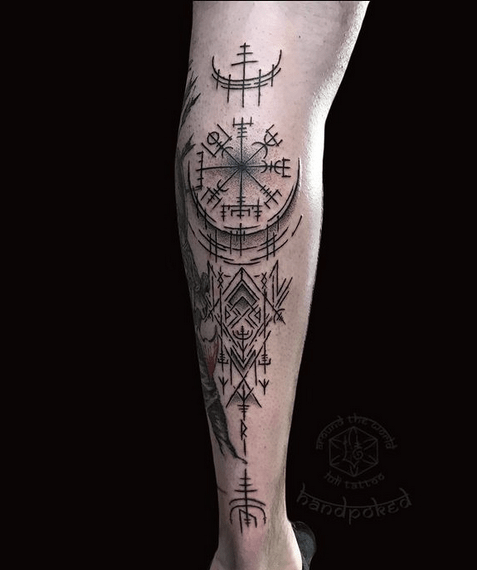 Calf viking compass tattoo by @luli_tattoo