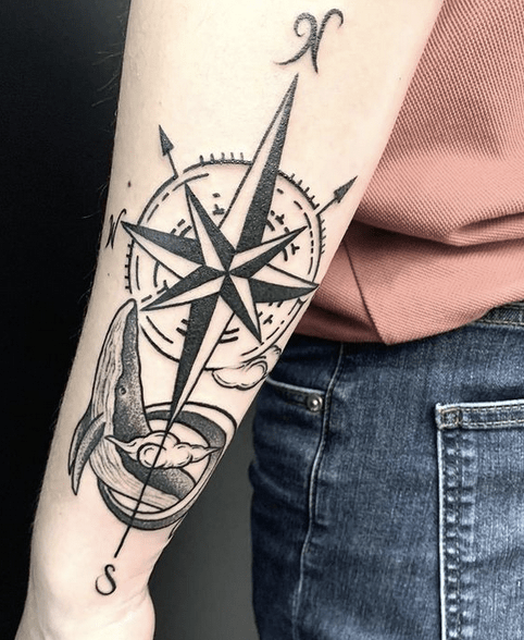 Compass rose whale tattoo by @gurkhatattoofamily