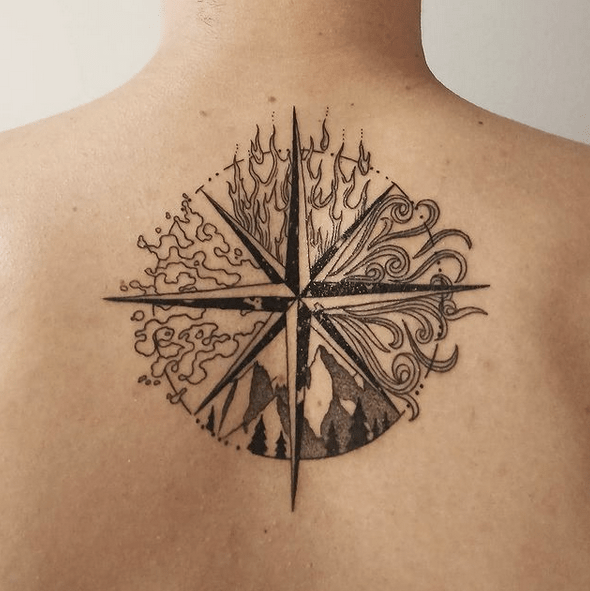 Compass rose with the four elements tattoo by @tatto_ori