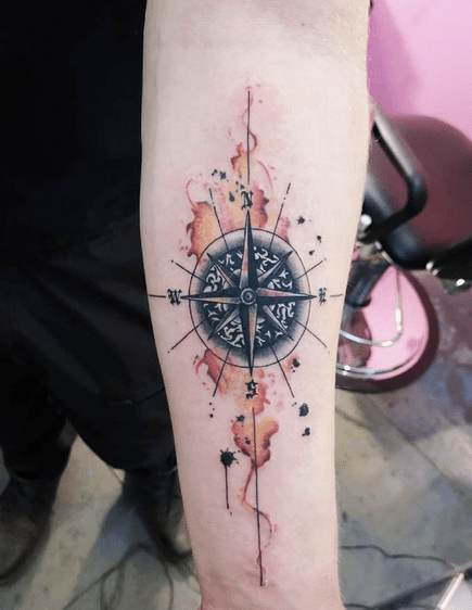 Fire watercolor compass tattoo by @tattooartistalina2