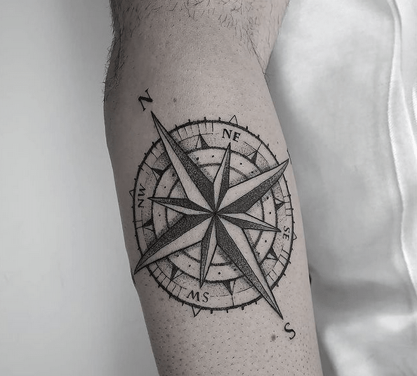 Forearm compass rose tattoo by @ginjimtattoo
