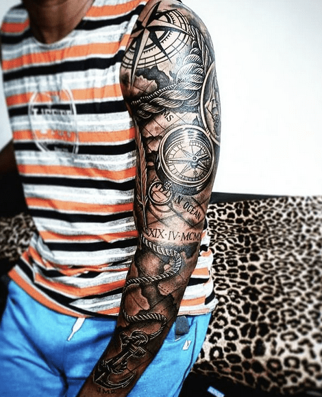 Full map and compass tattoo sleeve by @thisonkomang_tattoo