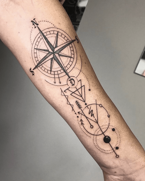 Geometry compass rose tattoo by @marco_tattooart