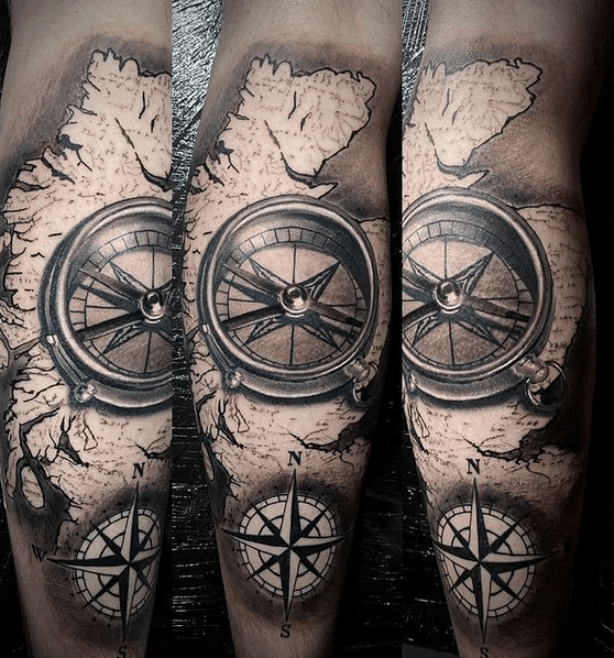 Great Britain with a compass tattoo by @kylepetrie_tattoo