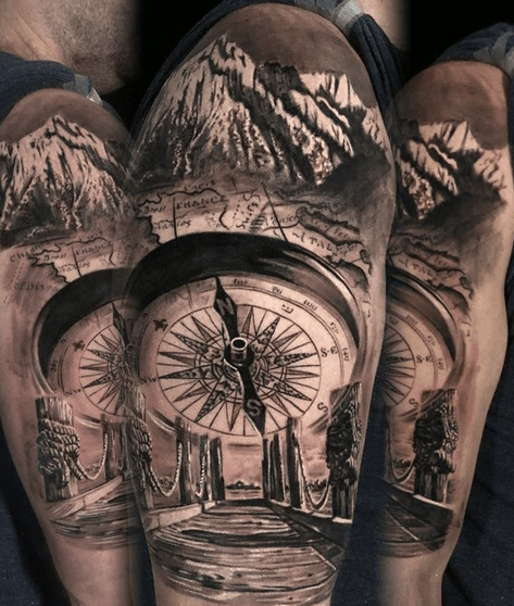 Half sleeve compass outdoors tattoo by @tuttattoos