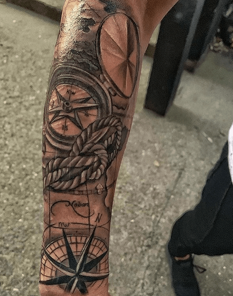 Halfsleeve nautical compass rope tattoo by @milos_stevanovic_tattoo