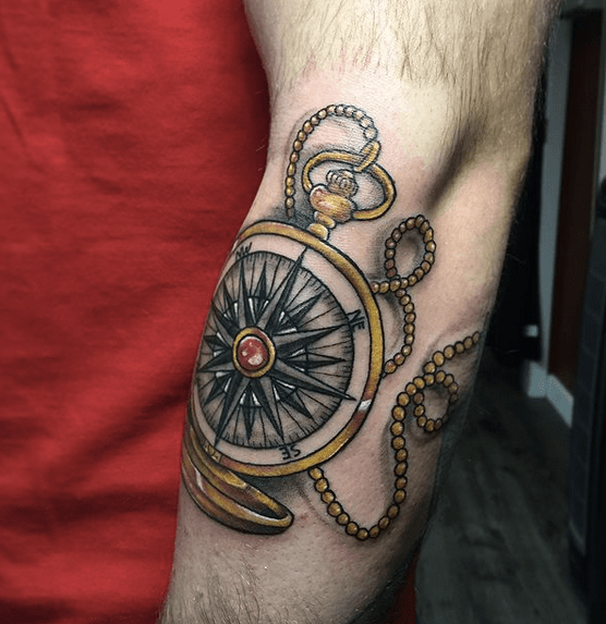 Illustrative nautical compass tattoo by @kayseeshuster