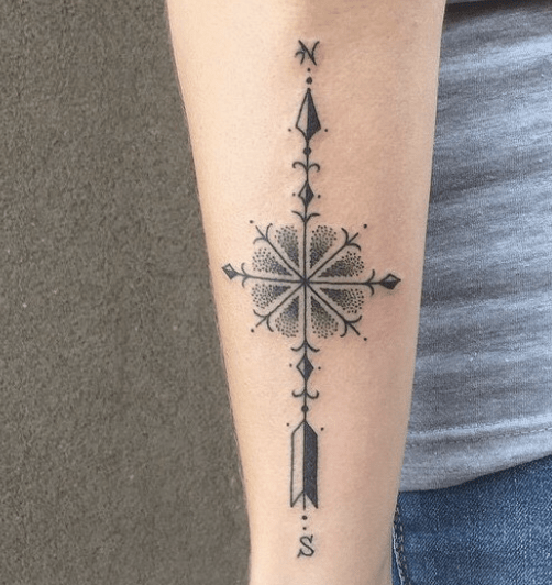 Minimalistic arrow and compass tattoo by @ascensionbodymod