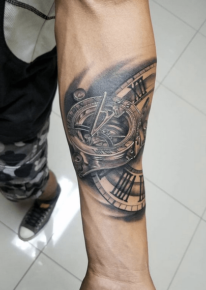 Nautical compass mechanism tattoo by @detail_ink
