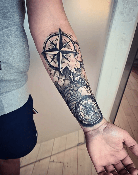 Navigation tattoo with compass and map by @sarahannatattoo
