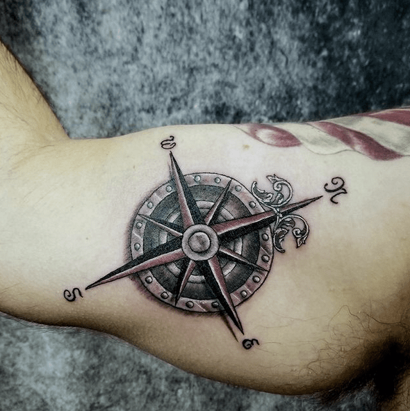 Old nautical compass rose tattoo by @alchemyinkliberal