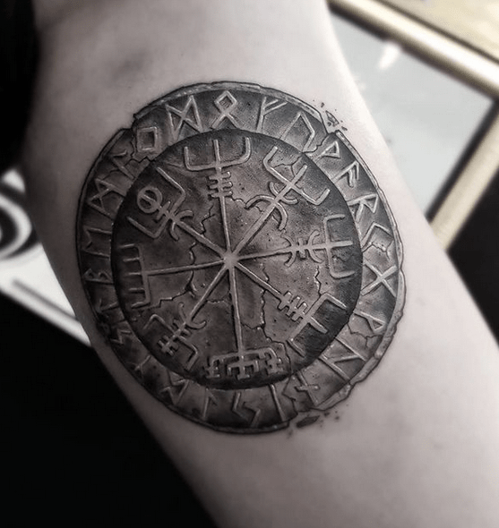 Old vegvisir on stone tattoo by @beren_tattoo