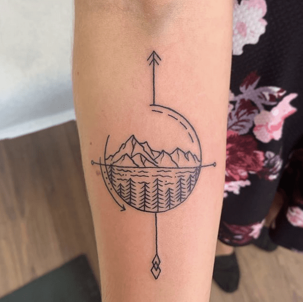 Outdoors compass tattoo by @chinatomik