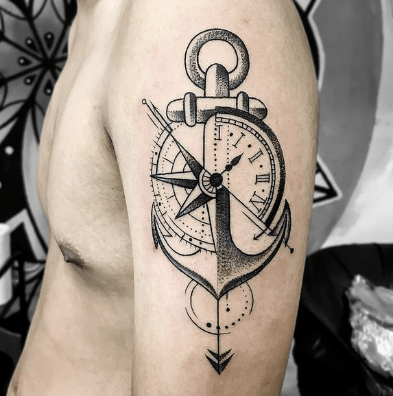 Shoulder anchor and compass tattoo by @tos_tattoo