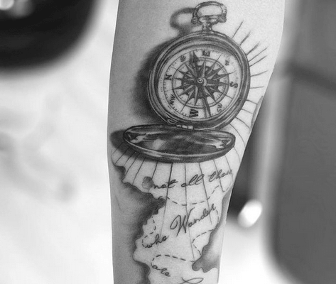 Small realistic nautical compass tattoo by @inkstattoopune