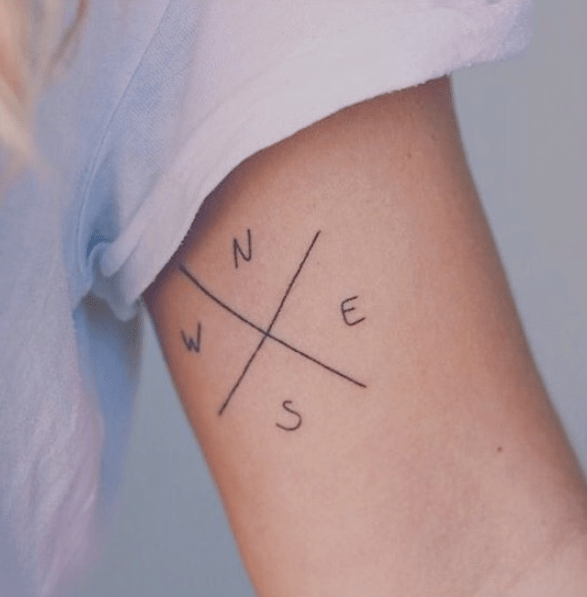 Tiny simple compass tattoo by @tiny20tattoo