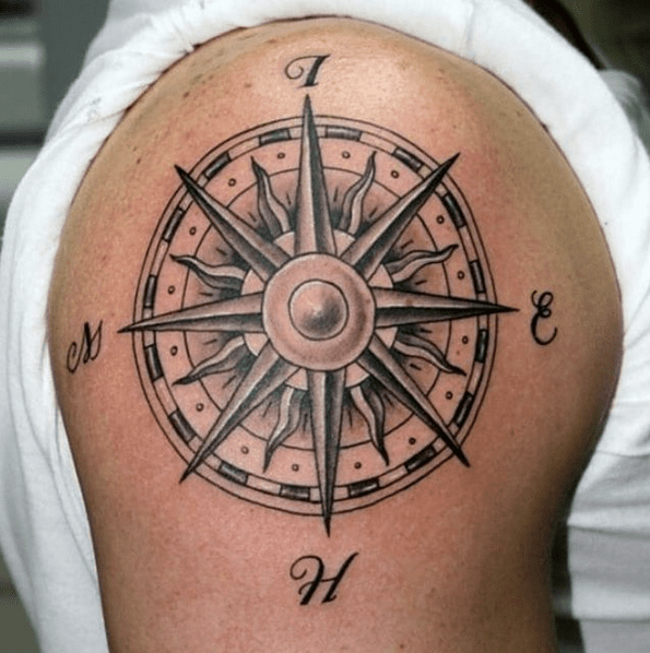 Traditional compass rose tattoo by @gernikatattoo