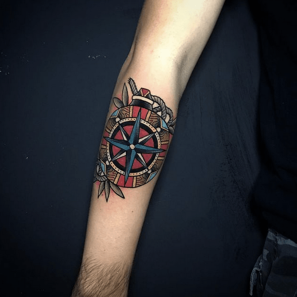 Traditional forearm compass tattoo by @ucok_tattoomaker