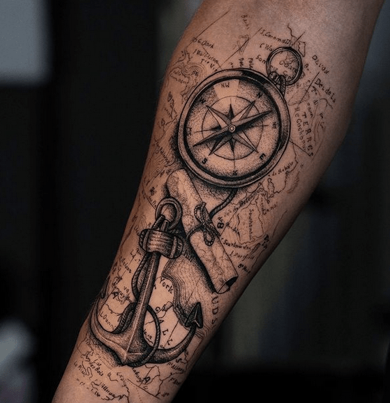 Vintage anchor and compass tattoo on a map by @_gagat_