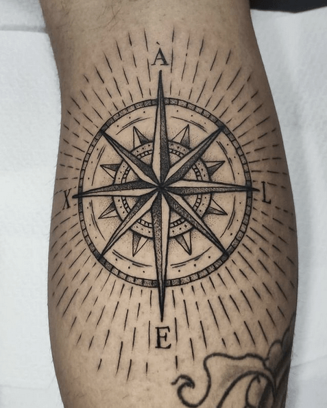 Vintage compass rose tattoo by @nolandtattooparlour