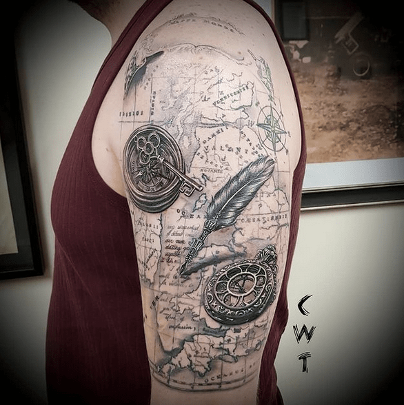 Vintage nautical compass map and pen tattoo by @ceriwilliamstattoos